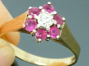 9ct gold Ruby & Diamond Hallmarked Cluster Ring size S