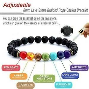 7 Chakra Bracelet Crystal Stones Healing Beads Jewellery Mala Reiki Anxiety