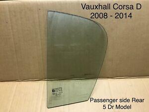 Vauxhall Corsa. 2008 - 2012. Window / Glass 1/4 Quarter Passenger Rear 5 Door