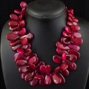 860.00 Cts Earth Mined Single Strand Ruby Pear Shape Beads Necklace JK 50E245