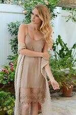 NUDE TAN Layering Lace Trim CAMISOLE Tank Top Long Slip DRESS EXTENDER M/L