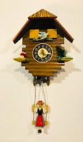 HECHINGER Vintage MINIATURE West Germany Cuckoo Clock Bouncing Girl on Swing
