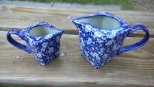 Set of 2 Victoria Ware Ironstone Blue Floral Square Jugs