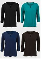 Ladies Womens Antea Plus Size Slinky Top 3/4 Sleeves Round Neck Shirts Size14-24