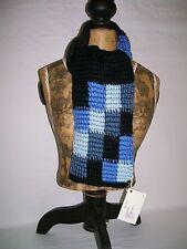 """Scarf Handmade crocheted Blues Black   48"""" x 8 """"  unisex Soft acrylic yarn"""