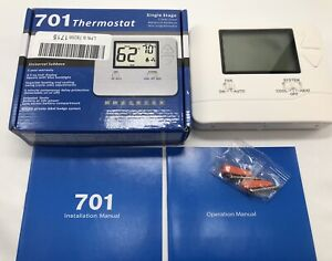 701 Single Stage Non Programmable Thermostat Battery Or Hardware~Backlit Display