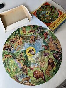 Vintage Waddingtons Circular Jigsaw Puzzle No.533 Wild Animals Of Plain & Forest