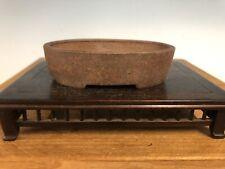 "Unglazed Oval Vintage Shohin Size Bonsai Tree Pot By Mino Kenzan 3 7/8"""