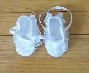 Baby GIRL Satin Christening Baptism White Shoes Lace Detail Size NB Trimfoot