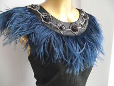 MONSOON BLACK BLUE GOLD EMBELLISHED SILVER EMBROIDERED FEATHER SHIFT DRESS 16
