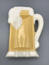 Vtg 1980 Ceramic Frosty Beer Mug Suds Ashtray w/ Signed Initials