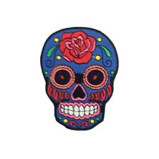 Red Rose Blue Sugar Skull (Iron On) Embroidery Applique Patch Sew Iron Badge