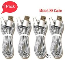 4 PACK Micro USB Charger Fast Charging Cable Cord For Samsung Android Phone.