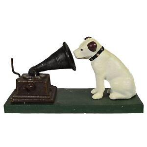 HMV Nipper Dog and Phonograph Gramophone Music Ornament Figurine Cast Iron