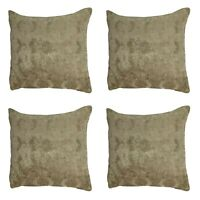 "SET OF 4 FILLED CUSHIONS - Luxury Gold Geometric Chenille 18x18"" / 45x45cm"