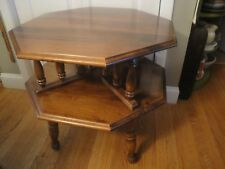 Vintage Octagonal Two Tiered Maple/Birch Side Accent Bedside End Table