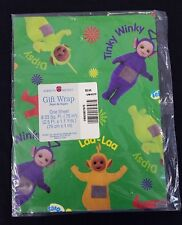 Vintage American Greetings Gift Wrap Teletubbies Green 1 Sheet 8.33 Sq. Ft.
