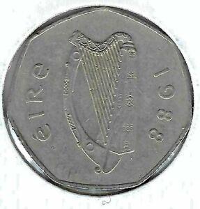 1988 Ireland Circulated 50 Pence with Harp and Woodcock!