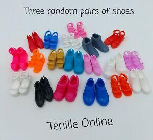 New Barbie clothing flat foot shoes x3 pairs random pick fashionista
