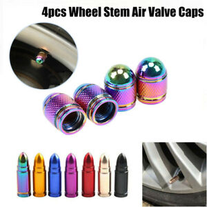 4pcs Aluminum Car Bike Tire Wheel Stem Air Valve Caps Dust Covers Bullet Shape