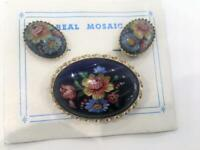 Italy Vtg Demiparure Handpainted Floral Earrings Brooch Set 3pc New Flowers