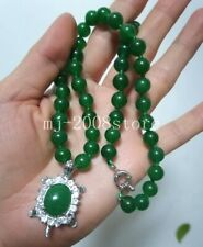 """Charming 8MM Green Jade Round Beads +  Tortoise Pendant Necklace 18"""""""