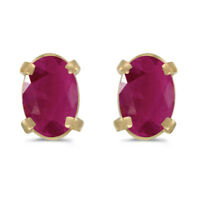 14k Yellow Gold Oval Ruby Earrings