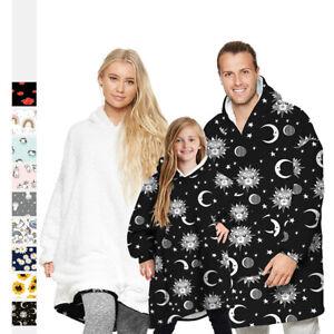 Unisex Adult Kids Planet Print Oversized Giant Hoodie Blanket Hooded Sweatshirt