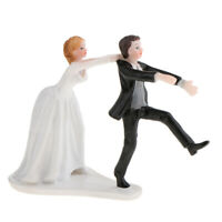 """""""Oh No You Don't"""" Funny Newlywed Wedding Cake Topper Resin Bride and Groom"""