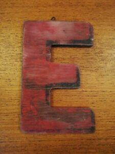Letter E Sign Weathered Vintage