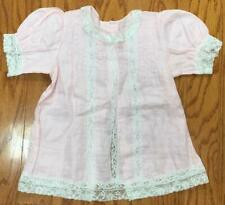 Vtg 1930's-1940's Dress cover pink linen & lace size 4-5 girls Mint summer smock