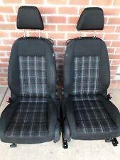 Mk6 Vw Golf Gti Plaid Cloth Bucket 2 Door Seats Heated Set Factory Oem -703