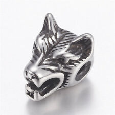 10 Pcs Antique Silver 304 Stainless Steel Wolf Head Beads For Jewellery Making