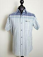 Marlboro Classics Mens Blue/White Check Soft Cotton Short Sleeve Shirt Large