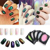 Fashion 5 Colors Broken Glass Foils Finger DIY Nail Art Stencil Decal Stickers J