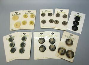 La Mode Multi  Lot  of 30 Buttons on Cards 1950's Vintage ITALY