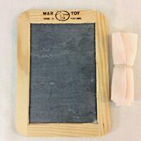 Vintage M&R Toys Real Slate Chalkboard Mini Double Sided Wood Frame Portugal