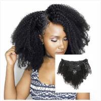 8PCS Afro Kinky Curly Clip dans les extensions de cheveux brésiliens de humains