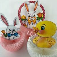 Set of 3 Vintage Russ Berrie EASTER BUNNY CHICK HONEYCOMB Centerpiece Decoration