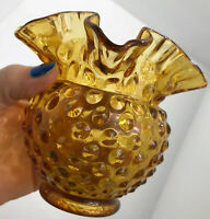 Fenton Signed Amber Gold Hobnail Round Rose Vase Vintage Glass 4.25 inches High