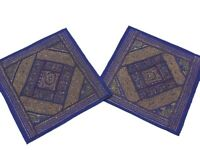 Sari Blue Square Cushion Covers 2 Big Couch Sofa Living Room Decorative Pillows
