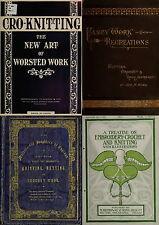 145 RARE OLD BOOKS ON NEEDLEWORK SEWING KNITTING PATTERNS DESIGN KIT YARN ON DVD