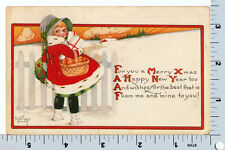 Kathryn Elliott Christmas Postcard - Girl with Gifts Gartner & Bender Vintage PC