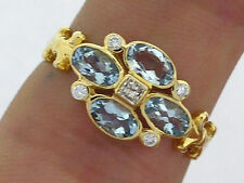 R139 Genuine 9ct Gold NATURAL Aquamarine & Diamond Blossom Ring Flower size N