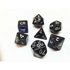NEW Nebula Black with Blue Glitter Poly Dice Set (7) Translucent New RPG DnD