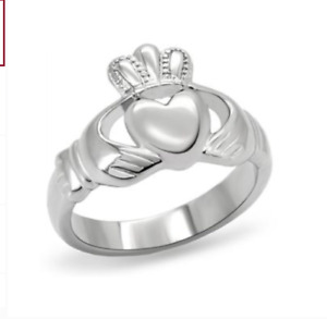 Stainless Steel Claddagh Ring Sizes 7 8 Silver Fashion Jewlery