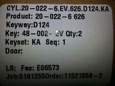 Schlage 22-022-626 rim cylinder D124 keyway, supplied with 2 keys