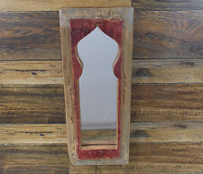 "PRIMITIVE RUSTIC LOOK DOOR PANEL WALL MIRROR 18"" X 7"""