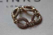 ORIGINALE Links of London 18CT ORO GIALLO E 1CT Pave Diamanti Anello ovale collegati