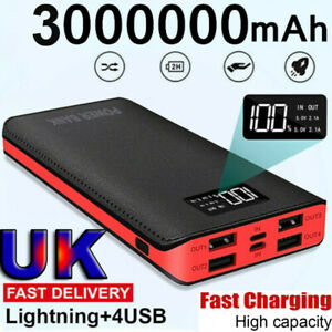 3000000mAh Portable Power Bank LED 4 USB Fast Battery Pack Charger For Phone
